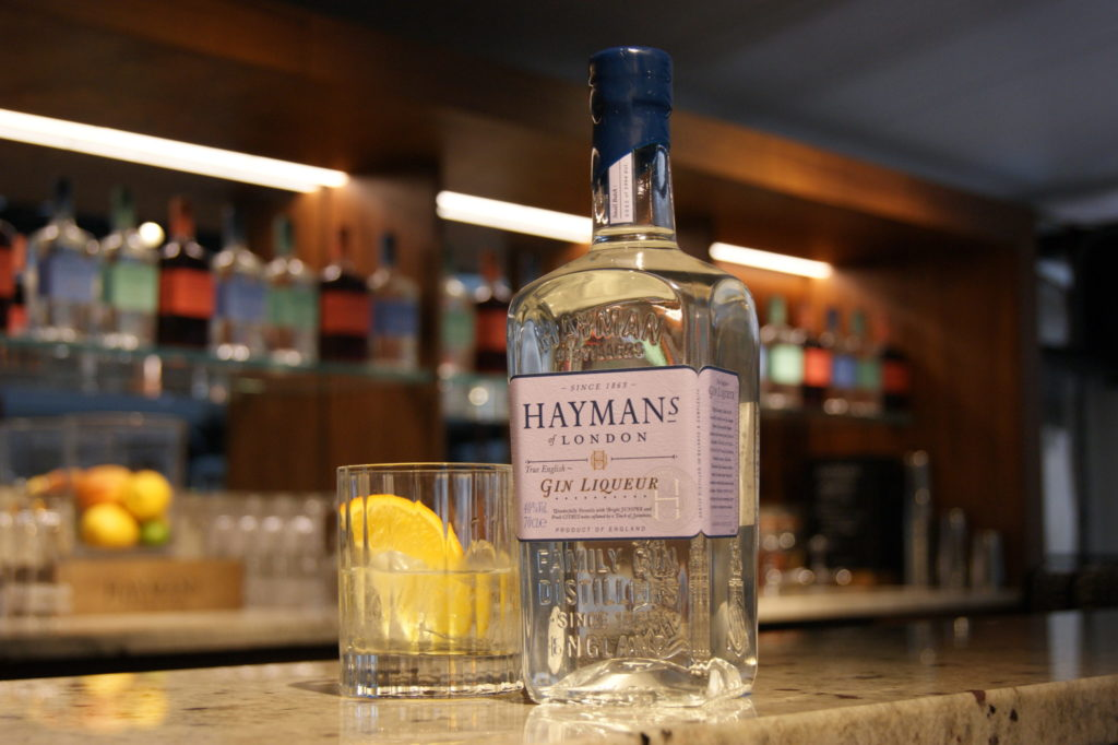 Hayman's Gin Liqueur on a bar