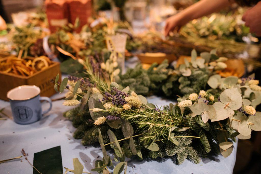 Hayman's wreath making workshop close up